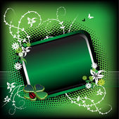 Green frame with flowers — Stock Vector