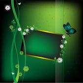 Butterfly and small green frame — Stockvector