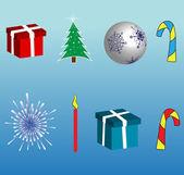 Símbolos y objetos de las vacaciones de invierno — Vector de stock