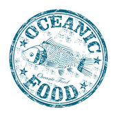 Oceanic food grunge rubber stamp — Stock Vector