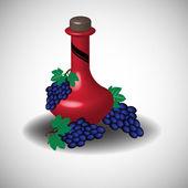 Červené víno a hrozny — Stock vektor