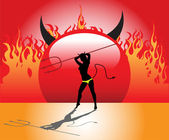 Devil woman holding a trident — Stock Vector