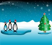 Penguins celebrating Christmas — Stock Vector