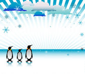 Penguins on ice — Stock Vector