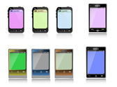 различные смартфоны, изолированные на белом фоне — Cтоковый вектор