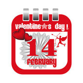 Valentine's Day calendar sheet — Vector de stock