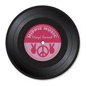 Hippie music vinyl record — Stock Vector
