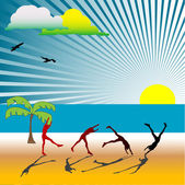 People on the beach — Stock Vector