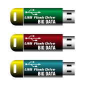 Big data usb flash drives — Stock Vector