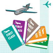 First class plane tickets — Stock Vector
