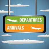 Departures and arrivals signpost — Stock Vector