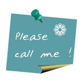 Please call me note pinned on a wall — Vetorial Stock
