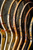 Wooden tennis raquets — Stock Photo