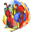 Jazz trio in abstract style — Stock Photo