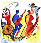 Trio de jazz no estilo abstrato — Fotografia Stock