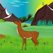 Deer at the green meadow — Stock Vector