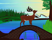Deer on the bridge in the forest — Vector de stock