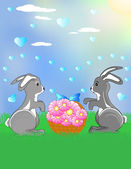 Bunnies at the meadow — Stock Vector