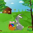Easter bunny with the eggs — Stock Vector
