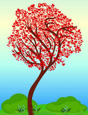 Beautiful spring tree with the heart leaves — Stock Vector