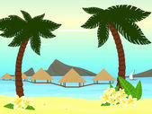 Seaside of the tropical island — Stock Vector