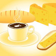 Breakfast with coffee, bread, cheese — Stock Vector