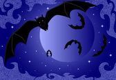 Cute flying bats on a night full moon background — Stock Vector