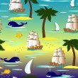 Cute tropical seamless pattern with ships, palms and whales — Stock Vector