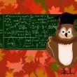 illustrazione vettoriale carino con il gufo, lavagna di scuola e foglie di autunno — Vettoriale Stock