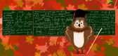 Cute vector illustration with the owl, school blackboard and autumn leaves — Stok Vektör