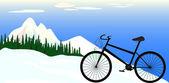 Ilustração de uma bicicleta do esporte em um fundo de montanhas — Vetorial Stock