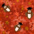 Beautiful seamless texture with owls in graduation cap, math formulas at the autumn leaves background. — Imagen vectorial
