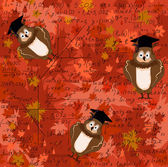 Beautiful seamless texture with owls in graduation cap, math formulas at the autumn leaves background. — Stock Vector