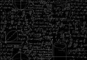 Bel modello matematico senza soluzione di continuità con algebra equazioni, figure e grafici. — Vettoriale Stock
