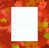 Blank sheet of paper on the background of the autumn leaves. — Stock Vector