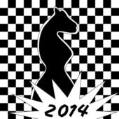 Cute chess background with the horse -- symbol of the year 2014 — Stock Vector