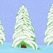 Winter landscape with beautiful snow covered fir trees — Imagen vectorial