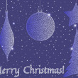 ストックベクタ: Beautiful blue background with Christmas balls and curling snow covered tree
