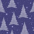 图库矢量图片: Beautiful blue vector seamless pattern with Christmas trees and snowflakes