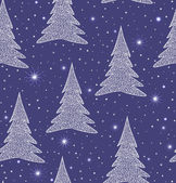 Beautiful blue vector seamless pattern with Christmas trees and snowflakes — Stock Vector