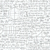 Mathematical vector seamless pattern with formulas, plots and equations — Vector de stock