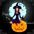 "Beautiful Halloween card with young witch sitting on a pumpkin ""Happy Halloween!"" — Stock Vector"