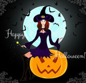 """Beautiful Halloween card with young witch sitting on a pumpkin """"Happy Halloween!"""" — Stock Vector"""