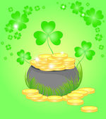 Beautiful vector illustration with the pot of golden coins and clover -- symbols of the St. Patrick's day — Stock Vector