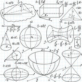 """Beautiful vector seamless pattern with mathematical figures, plots and formulas, """"handwritten on the copybook paper"""" — Vector de stock"""