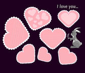Set of the beautiful vector valentines cards with cute bunny for the 14th February — Vettoriale Stock