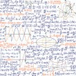 "Mathematical vector seamless pattern with formulas and figures, ""handwritten on the copybook paper"", different colors. — Stock Vector"