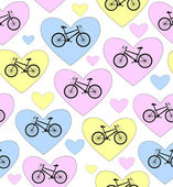 "Beautiful colorful vector seamless pattern with bikes and hearts ""I love bike"". You can use any color of background — Stock Vector"