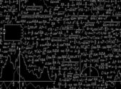Physical vector seamless pattern with plots, formulas and calculations — Stok Vektör