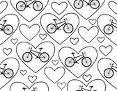 """Vector seamless pattern with bikes and hearts, """"I love bike"""" — Stock Vector"""
